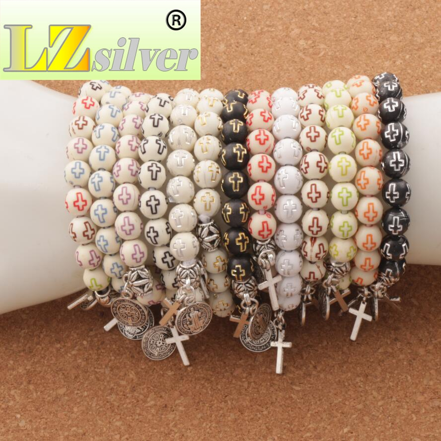 2019 Latest Design 20pcs Saint Benedict Evil Protection Cross Charm Spring Beaded Bracelets 14colors Acrylic Hollow Cross 8mm Round Bracelet Bb45 Colours Are Striking