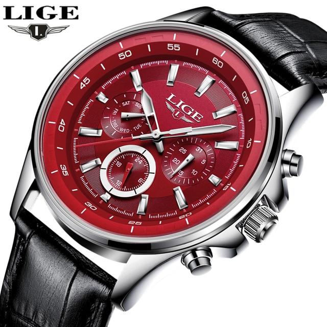 d3537aba0e6 LIGE Mens Relógios Top Marca de Luxo Relogio masculino Homens Relógio de Quartzo  Ocasional Pulseira de