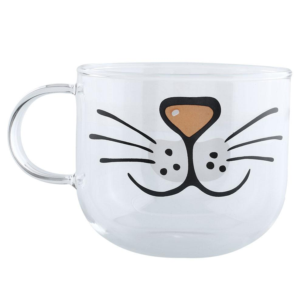 Cute <font><b>Cat</b></font> <font><b>Kitty</b></font> Glass Coffee <font><b>Cup</b></font> Decoration Transparent Water Mug 550ML