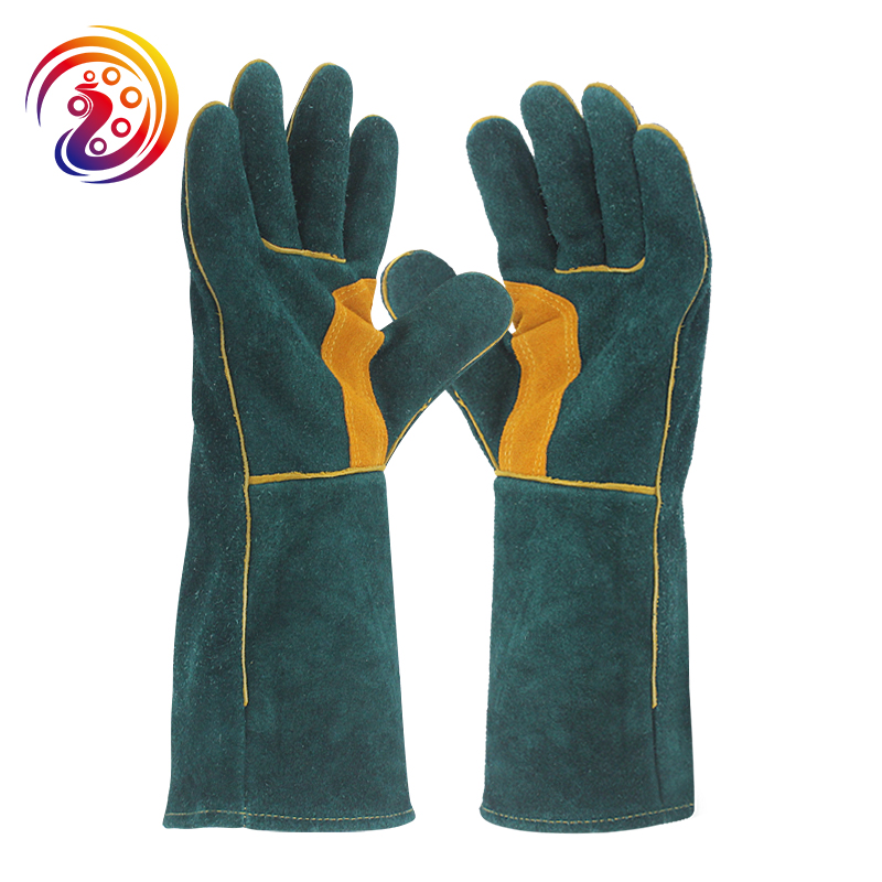 OLSON DEEPAK Men's Welding Gloves Cow Split Leather Long Welders BBQ Gloves Barbecue Heat Resistant Work Glove HY038 welding welders work soft cowhide