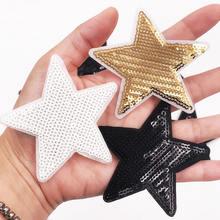 ffc9c0dc9954b Оптовая продажа 20 шт. белого золота Black Star блестки патчи для Костюмы  утюг на патч вышитые аппликации DIY Одежда Швейные зна.