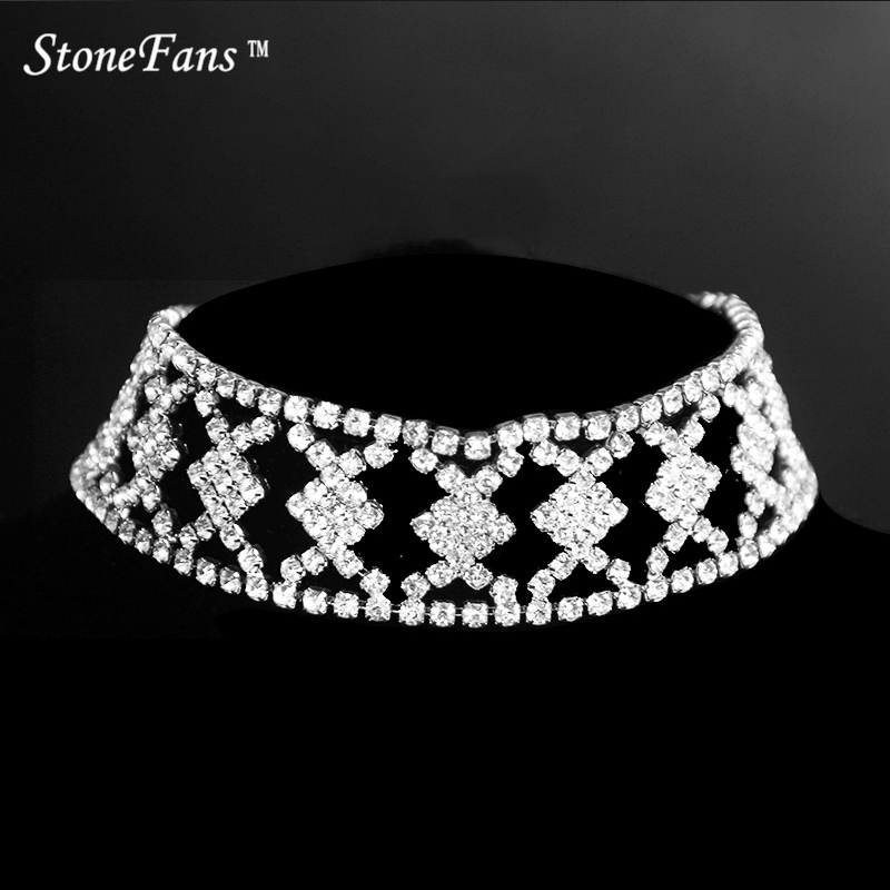 StoneFans Rhinestone Checkered Geometric Square Statement Choker Necklace Collar Maxi Necklace Women Chain Collier Femme Jewelry|statement choker|collar maxi|statement choker necklace - title=