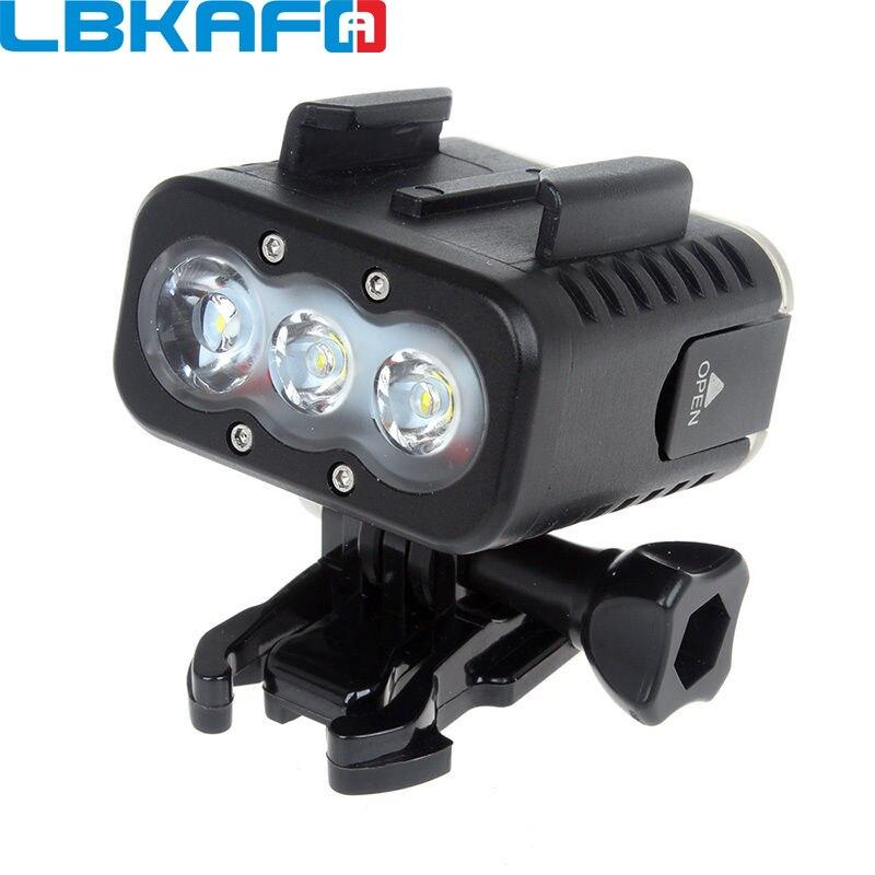 LBKAFA 50 M étanche sous-marine LED lumière vidéo Super lumineux plongée lampe de remplissage pour Gopro Hero 6 5 4 3 + SJCAM SJ4000 SJ5000 SJ6