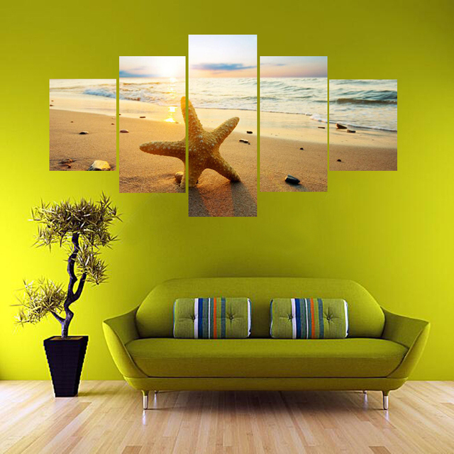 5 Pcs Printed Starfish Beach Scenery Picture Large Canvas Painting ...