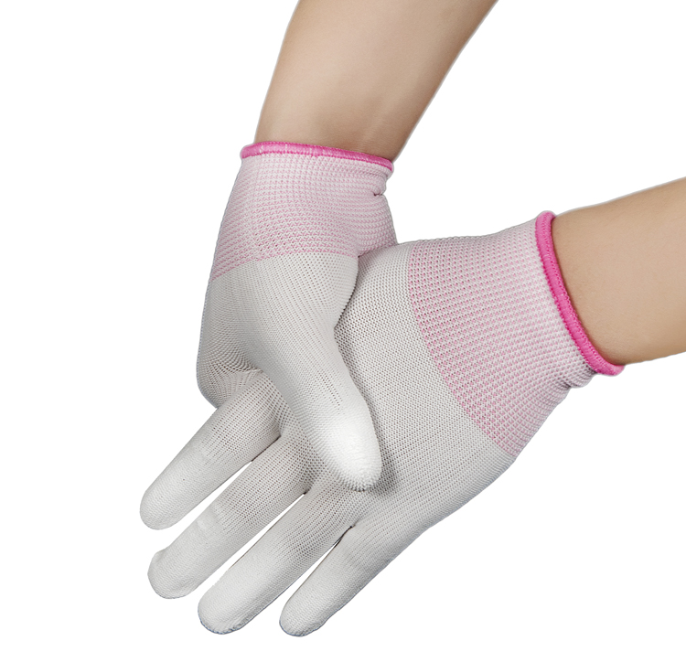 Pu Coated finger Nylon font b Gloves b font With Flexible Rubber Finger Fine Work Tightly