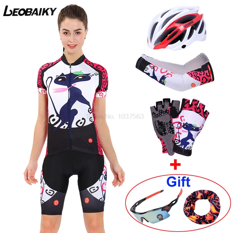 LEOBAIKY 2017 New Dry Fit Short Sleeve Women Cycling Jersey Sexy Lady Female Road Sports Bicycle Cycling Clothing Sets MTB 2015 fdj cycling jersey quick dry cycling sets short sleeve jersey and 3d gel bib short with sleeve breathable bicycle wear