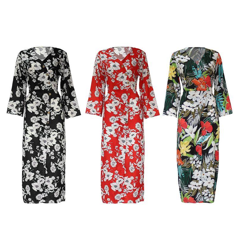 Женские Большие размеры с длинным рукавом Высокий Сплит шифон Макси платье обёртывать накрест v образным вырезом на пуговицах Тропический