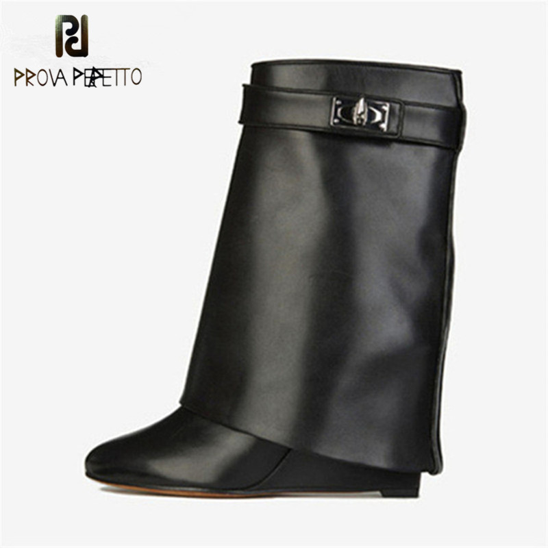 Prova Perfetto Shark Lock Genuine Leather Women Wedge Boots Height Increasing Fold Over High Boots Ladies