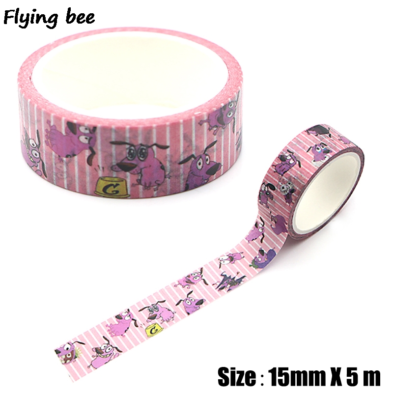 Flyingbee 15mmX5m Courage The Cowardly Dog Washi Tape Paper DIY Decorative Adhesive Tape Stationery Cute Dog Masking Tapes X0315