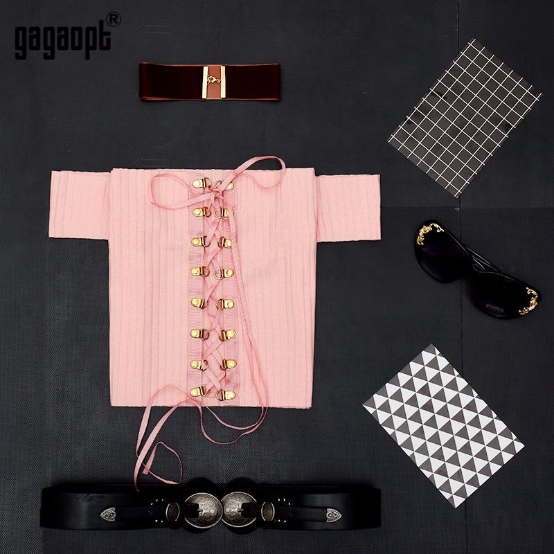 HTB1HNmXOpXXXXcTaXXXq6xXFXXX6 - Sexy Black Crop Top Lace Up Tee shirt Metal Ropes Women