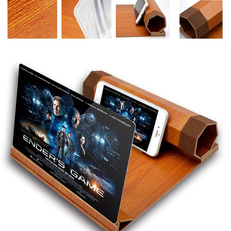 FleißIg Klapp Desktop 12 Zoll Handy Halter Stand Bildschirm Lupe 3d Hd Video Verstärker Holzmaserung Halterung Für Alle Smartphone Verkaufsrabatt 50-70%