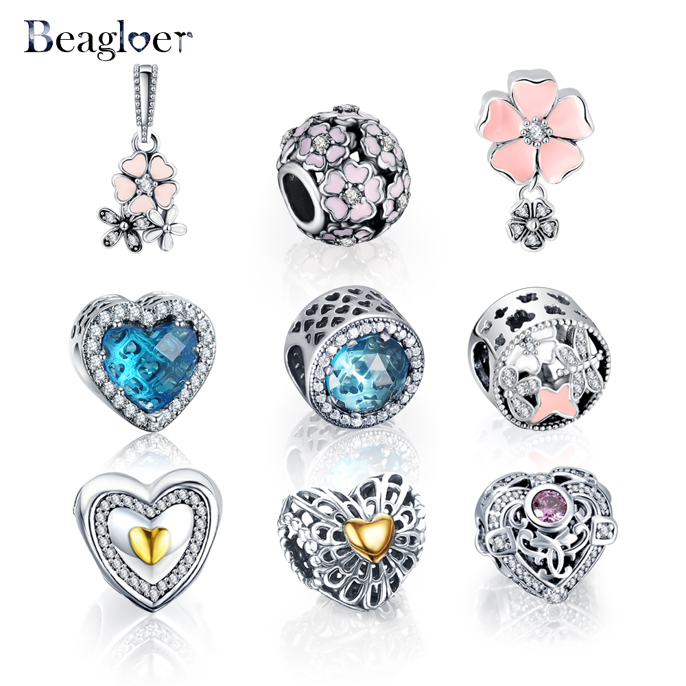 Beagloer 100% 925 Sterling Silver Heart Beads Charms Fit Pandora Bracelet  Necklace For Women Diy