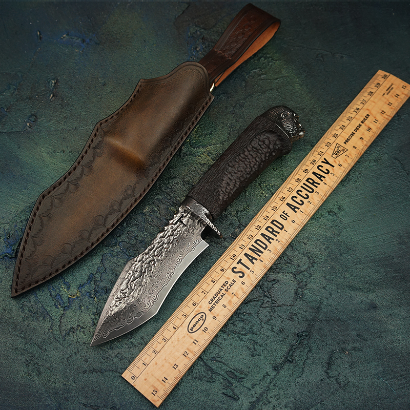 TUREN VG10 Damascus Steel Fixed Blade Knife With Sheath Non slip handle Tactical Knives Animal head