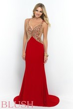 2015 Sexy Red Open Back Sheath Prom Dresses Deep V Neck Gold Crystal Sequin Long Cheap Beaded Chiffon Evening Party Gown