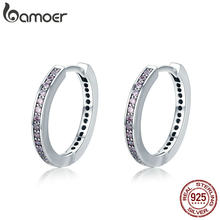 BAMOER Hot Sale Authentic 925 Sterling Silver Dazzling Pink CZ Simple Female Hoop Earrings for Women Fashion Jewelry Gift PAS529(China)
