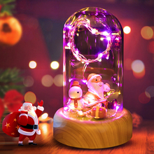 3 Shapes Rose Streamer Bottle USB Rechargeable LED Night Light with Wireless Bluetooth Speaker in Glass Decoration Table Lamp romantic flower led night light rechargeable streamer bottle creative bulb rose gift for girl table lamp with bluetooth speaker