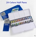 WINSOR & NEWTON сплошной цвет воды краски 12/24 цвета Половина кастрюли художник воды краски в металлической коробке книги по искусству рисунок пост...