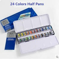 WINSOR&NEWTON Solid Watercolor Paints 12/24 Colors half pans Painter Water color metal box packing Art Drawing Supplies