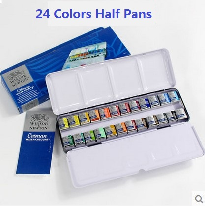 WINSOR & NEWTON solide aquarelle peintures 12/24 couleurs demi-casseroles peintre couleur de l'eau boîte en métal emballage Art dessin fournitures