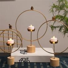 Креативный кованый геометрический подсвечник в скандинавском стиле для дома, гостиной, украшения стола, подсвечник из металла