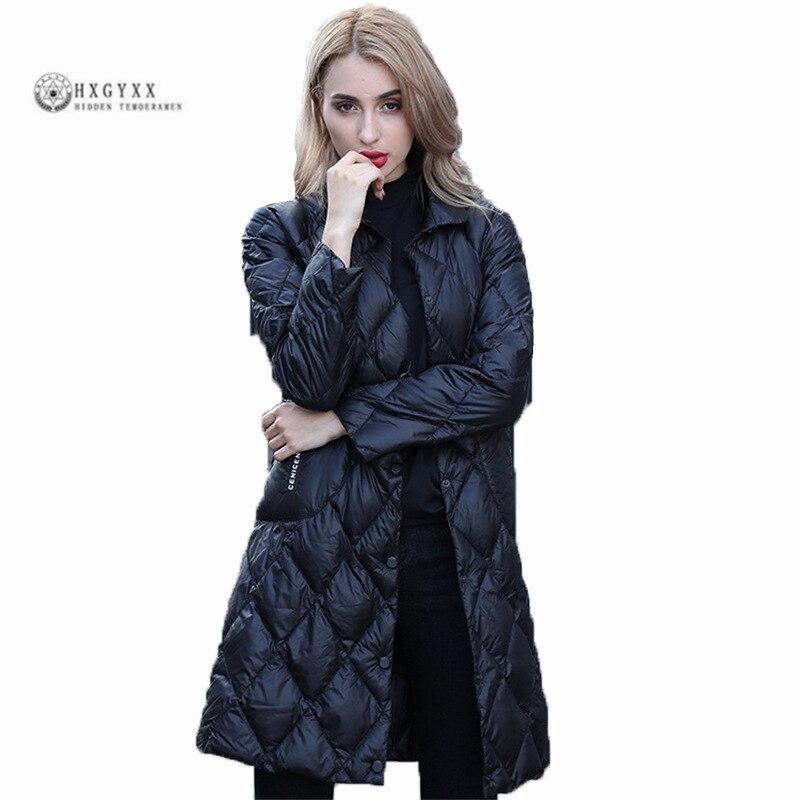 Mode Nouvelles Dames Vers Le Bas Veste Style Européen Revers Solide Couleur Blanc Duvet de Canard Mince Dans La Longue Section des Femmes survêtement G0220
