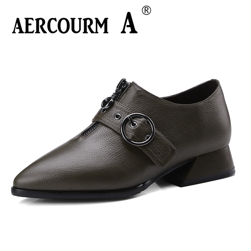 Aercourm A 2018 Fashion Spring New Women Brand Shoes Pointed Toe Lady Shoes Square Heel Genuine Leather Low Heels Shoes ZCTY&255 aercourm a 2018 women black fashion shoes female bright genuine leather shoes pearl high heel pumps bow brand new shoes z333
