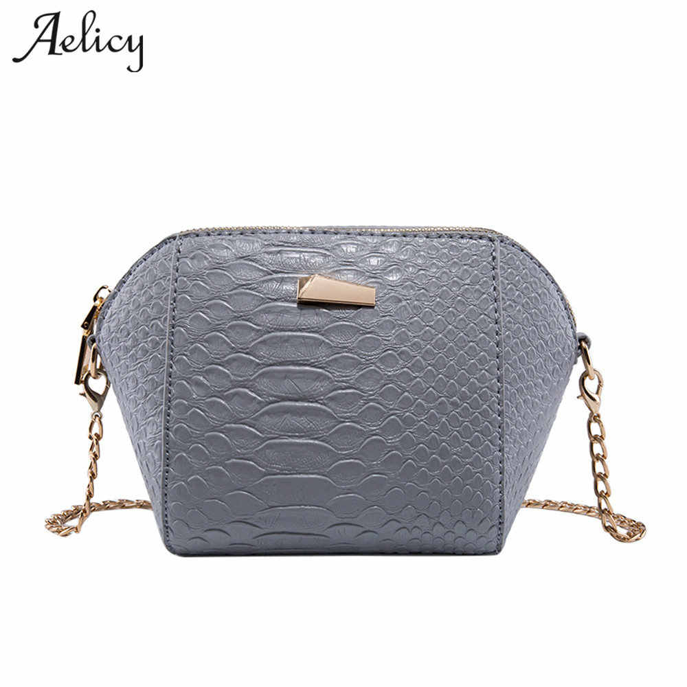 Aelicy Fashion Crocodile Grain Leather Women Crossbody Bag Women Messenger  Bag for Girls Shoulder Bags Small d11679f711fb7