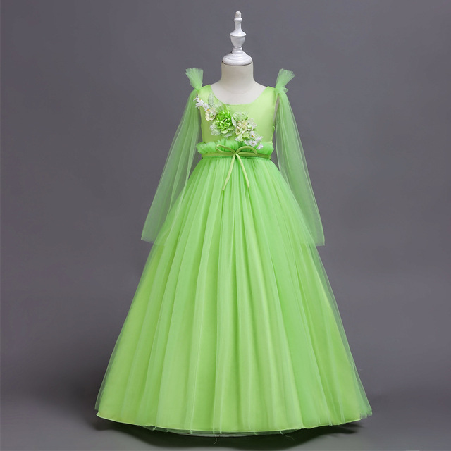 53f526fafa6f Appliques Girl Wedding Gowns Pink Apple Green Tulle Ankle Length ...