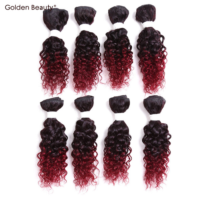 8inch Jerry Curl Synthetic Hair Weave Ombre Braiding Hair Sew In