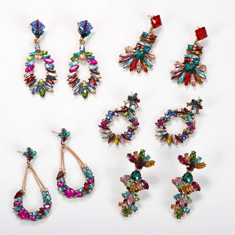 Miwens Luxury Colorful Crystal Oval Hanging Dangle Earrings For Women Geometric Maxi Pendant Statement Earrings Charm Jewelry