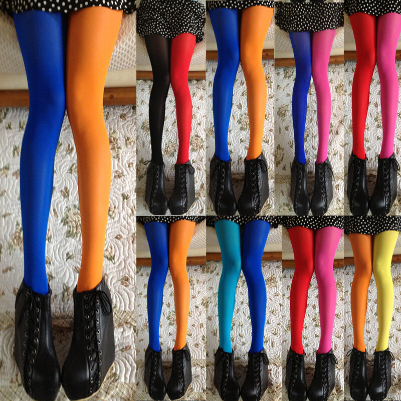 Colorful Women Patchwork Footed Stretchy Pantyhose Elastic Stockings Two Color Silk Stockings Skinny Legs Collant Sexy Pantyhose