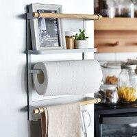 Kitchen Rack Fridge Magnetic Organizer 2018 New Design Paper Towel Holder, Rustproof Spice Jars Rack Including 6 hooks