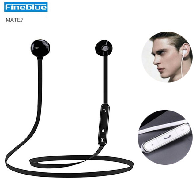 Original fineblue mate7 imanes estéreo blutooth auriculares earpods con micrófono inalámbrico para iphone 6 s xiaomi auriculares estéreo deportes