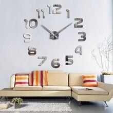 Modern diy acrylic mirror fashion wall clock 3d big quartz watch clocks living room home decoration still life silver stickers