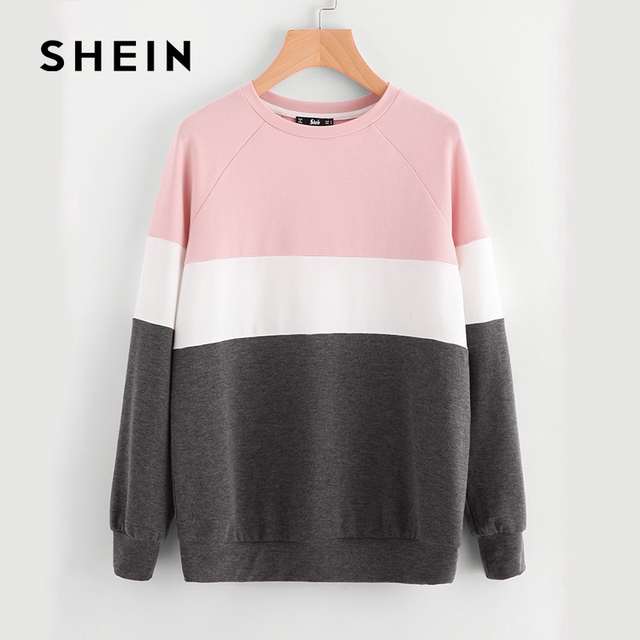 SHEIN Cut And Sew Raglan Sleeve Sweatshirt,2017 Autumn New Fashion Women's Casual Clothes,Pink/White/Grey Color Block Round Neck