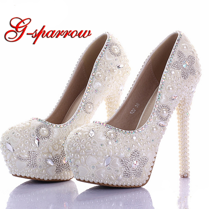 Gorgeous Ivory Wedding Dress Shoes Bling Star Crystal Banquet Party Prom Shoes Women 11cm High Heel Rhinestone Bridal Shoes cinderella high heels crystal wedding shoes 14cm thin heel rhinestone bridal shoes round toe formal occasion prom shoes