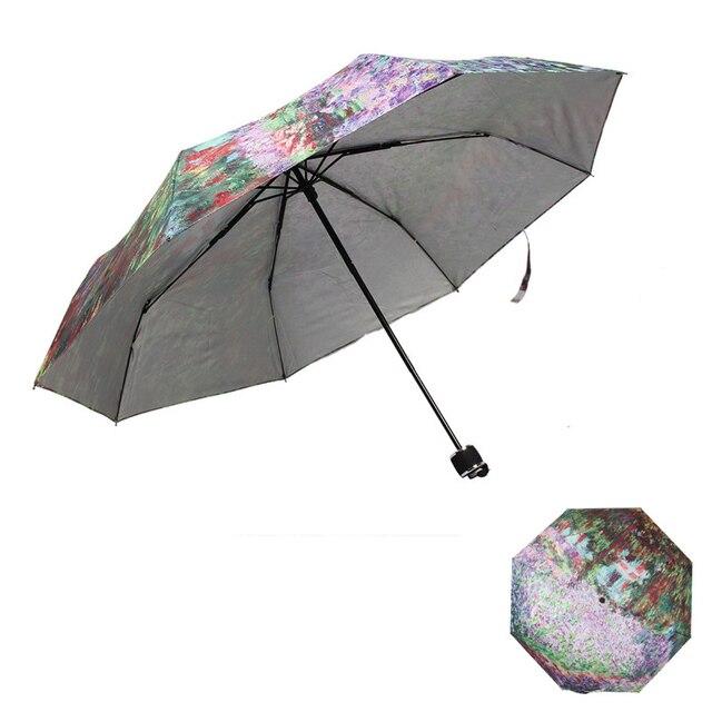 Three folding Umbrella Rain Women Sunny and Rainy Umbrella Parasol
