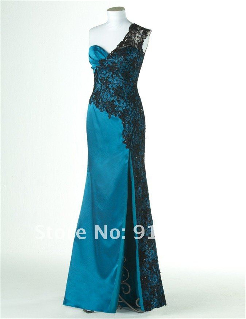 Purple Satin Long Prom Dress With Black Lace Royal blue party ...