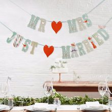 MR AND MRS JUST MARRIED Wedding Banner Set For Wedding Table Centerpiece Decorations for Reception Bridal Shower Car Decorations(China)