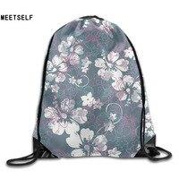 3D Print Beautiful Plum Pattern Shoulders Bag Women Fabric Backpack Girls Beam Port Drawstring Travel Shoes