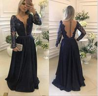 Vintage Dark Navy Long Sleeves Prom Party Dresses With Beading Belt Illsuion Back Buttons High Quality Chiffon Evening Gowns