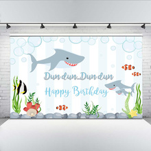 Undersea Photography Background Happy Birthday Party Backdrop Shark and Fish Cartoon for Children Celebration Studio