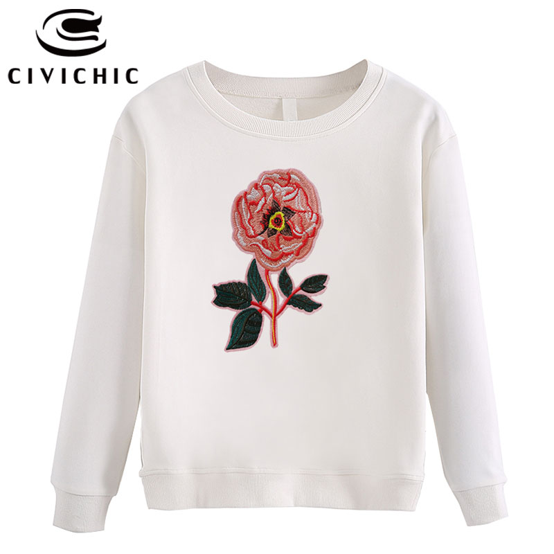 CIVICHIC Stylish Women Floral Embroidery T shirt Long Sleeve Top Tees O Neck Harajuku Sweatshirt Cotton Oodji Bts Pullover WLT41