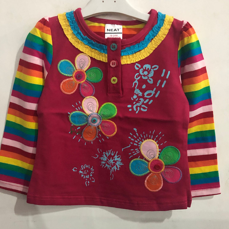 Tops Flower-Shirt Long-Sleeve Girls Autumn Kids Fashion Children's And Spring for Stripe