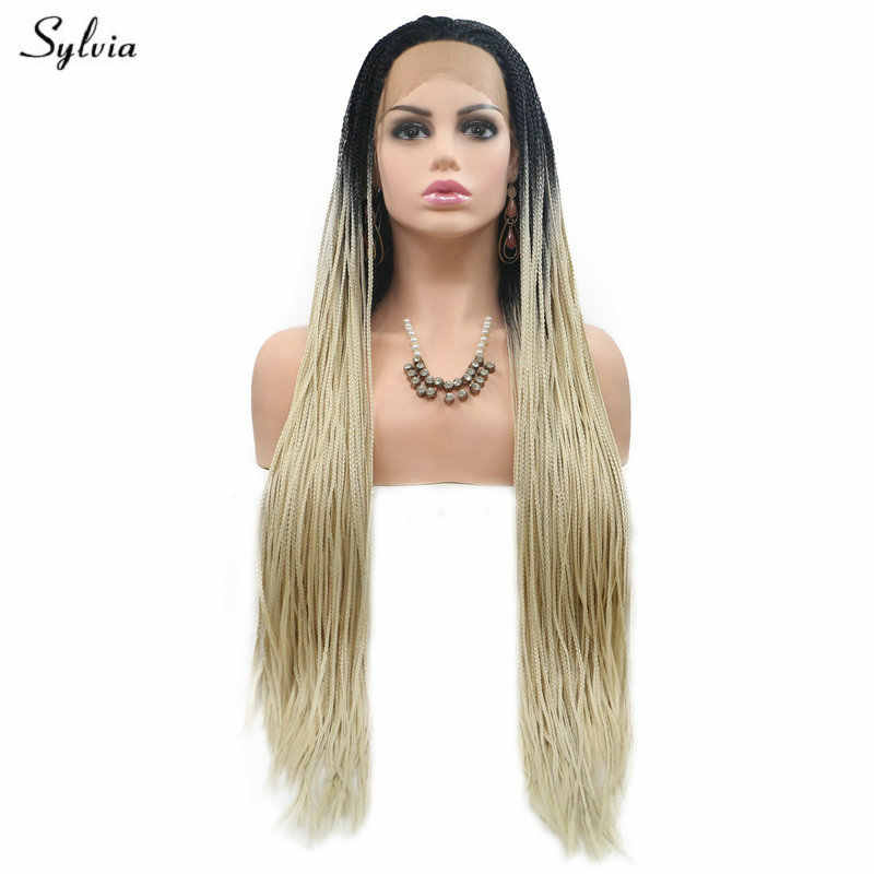 Sylvia Natural Hairline Black Roots Ombre Pastel Blonde Gray Green Lace Front Wigs Long Synthetic Hair Braided Box Braids Wig