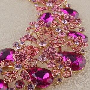 Image 5 - Yeni Gelin Düğün takı seti bildirimi kolye küpe Fuşya Pembe Rhinestone Kristal Takı Kadın Parti Aksesuarları