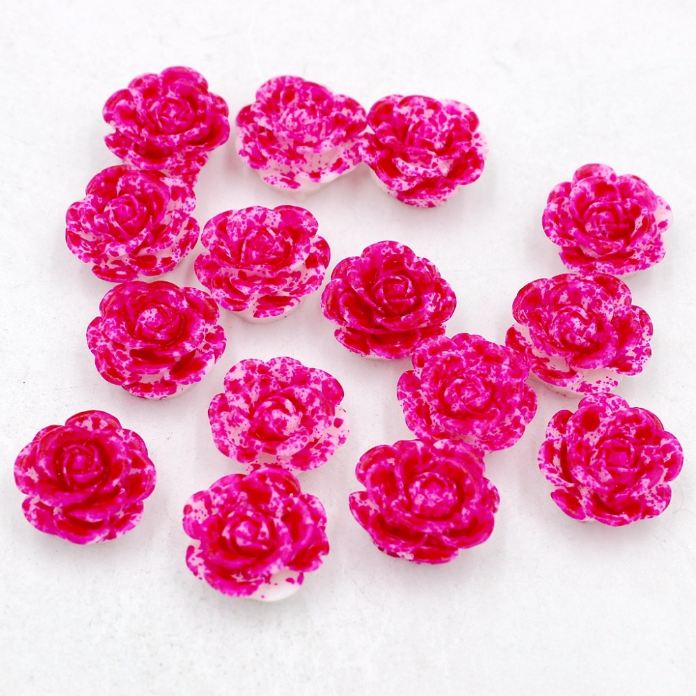 Free Shipping 100pcs 14mm Double Rose and White Color Resin Rose Flower Flatback Stone Appliques For Phone/Crafts DIY