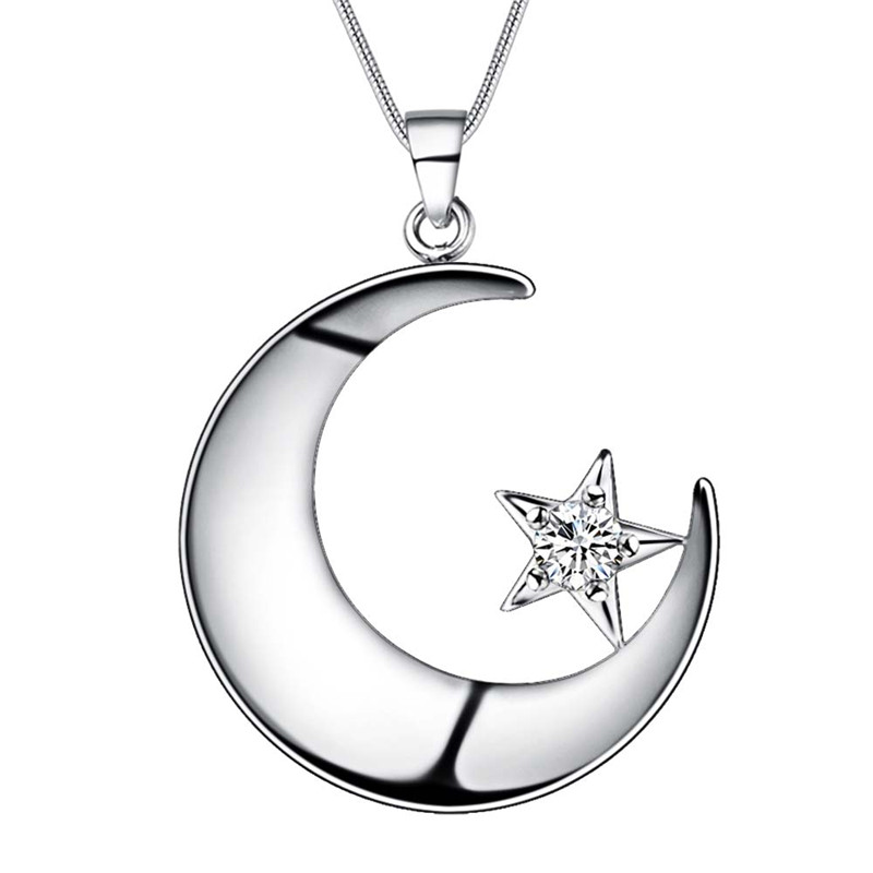 Beautiful Design Silver Moon Star Pendant Necklace with zircon ...