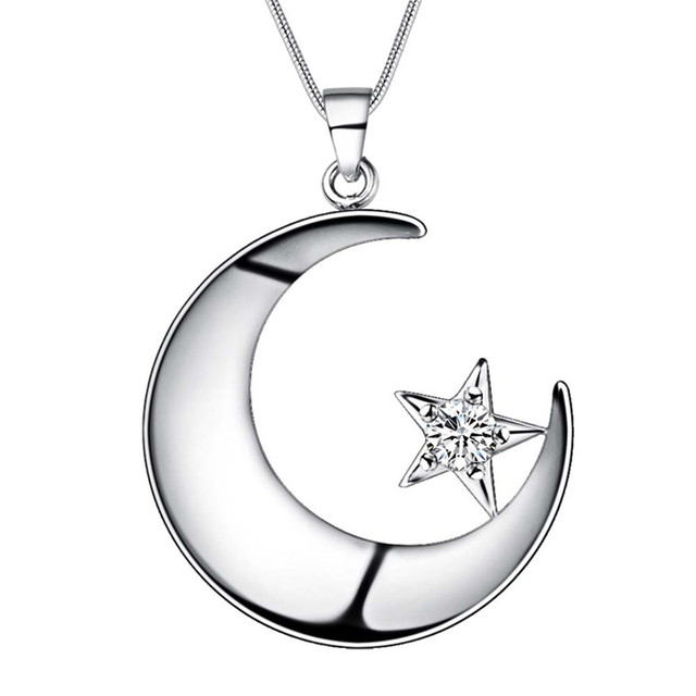 Beautiful design silver moon star pendant necklace with zircon beautiful design silver moon star pendant necklace with zircon fashion jewelry wedding gift for woman of aloadofball Images