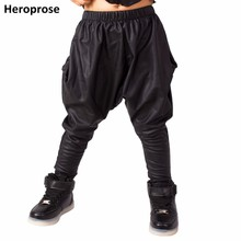 Heroprose 2018 New Fashion personality Black big crotch trousers stage performance costumes harem hip hop skinny pants for kids